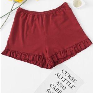 Pants - Burgundy Frilly Shorts